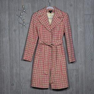 Bebe Pink Cream Tweed Coat 53156101-0026 Sz Small